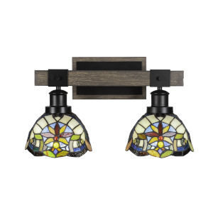 Tacoma Matte Black and Distressed Wood-lock Metal 17-Inch Two-Light Bath Light with Earth Star Art Glass Shade