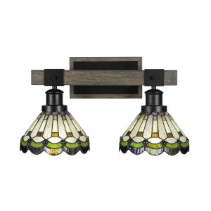 Tacoma Matte Black and Distressed Wood-lock Metal 18-Inch Two-Light Bath Light with Cyprus Art Glass Shade