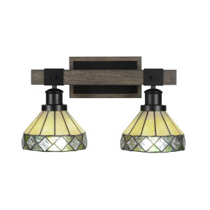 Tacoma Matte Black and Distressed Wood-lock Metal 17-Inch Two-Light Bath Light with Diamond Peak Art Glass Shade