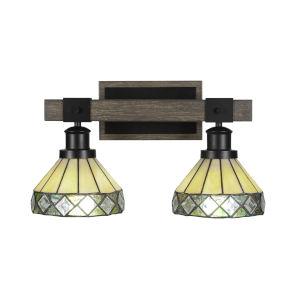 Tacoma Matte Black and Distressed Wood-lock Metal 17-Inch Two-Light Bath Light with Diamond Peak Art Glass Shade