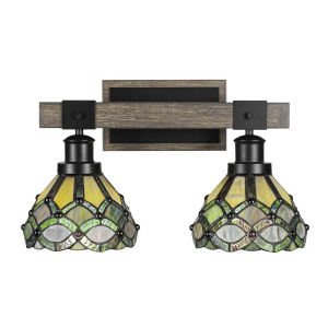 Tacoma Matte Black and Distressed Wood 18-Inch Two-Light Bath Light with Grand Merlot Art Glass Shade