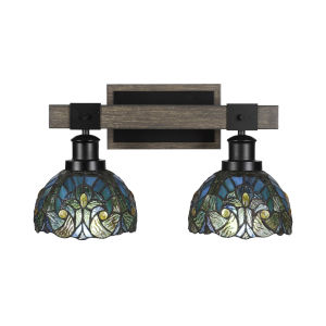 Tacoma Matte Black and Distressed Wood-lock Metal 17-Inch Two-Light Bath Light with Turquoise Cypress Art Glass Shade