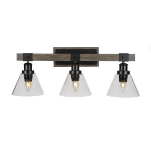 Tacoma Matte Black and Distressed Wood-lock Metal 27-Inch Three-Light Bath Light with Clear Bubble Shade