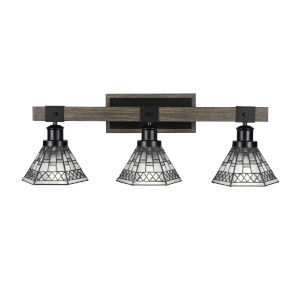 Tacoma Matte Black and Distressed Wood-lock Metal 27-Inch Three-Light Bath Light with Pewter Art Glass Shade