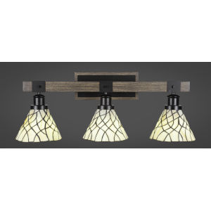 Tacoma Matte Black and Distressed Wood-lock Metal 27-Inch Three-Light Bath Light with Sandhill Art Glass Shade