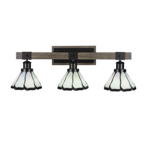 Tacoma Matte Black and Distressed Wood-lock Metal 28-Inch Three-Light Bath Light with Pearl and Black Flair Art Glass Shade