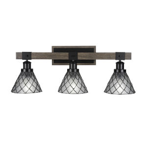 Tacoma Matte Black and Distressed Wood-lock Metal 27-Inch Three-Light Bath Light with Diamond Ice Art Glass Shade
