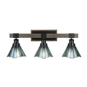 Tacoma Matte Black and Distressed Wood-lock Metal 28-Inch Three-Light Bath Light with Sea Ice Art Glass Shade