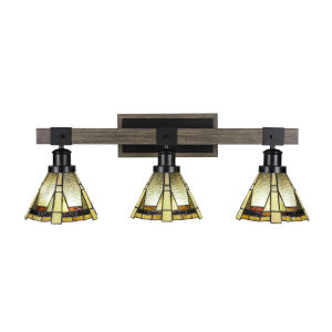 Tacoma Matte Black and Distressed Wood-lock Metal 28-Inch Three-Light Bath Light with Zion Art Glass Shade