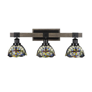 Tacoma Matte Black and Distressed Wood-lock Metal 27-Inch Three-Light Bath Light with Earth Star Art Glass Shade