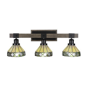 Tacoma Matte Black and Distressed Wood-lock Metal 27-Inch Three-Light Bath Light with Diamond Peak Art Glass Shade
