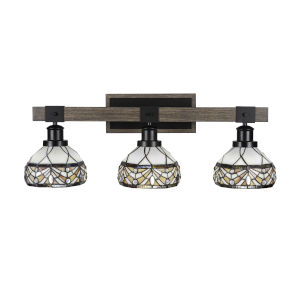 Tacoma Matte Black and Distressed Wood-lock Metal 27-Inch Three-Light Bath Light with Royal Merlot Art Glass Shade