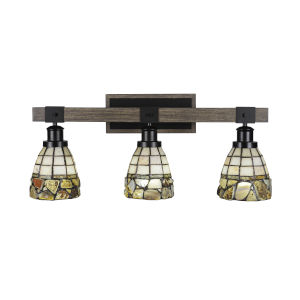 Tacoma Matte Black and Distressed Wood-lock Metal 26-Inch Three-Light Bath Light with Cobblestone Art Glass Shade