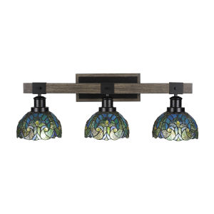 Tacoma Matte Black and Distressed Wood-lock Metal 27-Inch Three-Light Bath Light with Turquoise Cypress Art Glass Shade