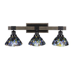 Tacoma Matte Black and Distressed Wood-lock Metal 28-Inch Three-Light Bath Light with Blue Mosaic Art Glass Shade
