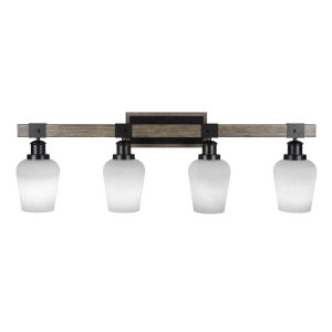 Tacoma Matte Black and Distressed Wood-lock Metal Five-Inch Four-Light Bath Light with White Muslin Shade