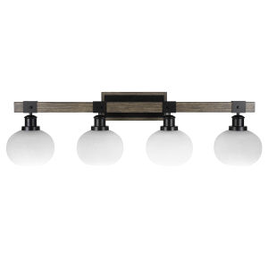 Tacoma Matte Black and Distressed Wood-lock Metal 38-Inch Four-Light Bath Light with White Muslin Shade