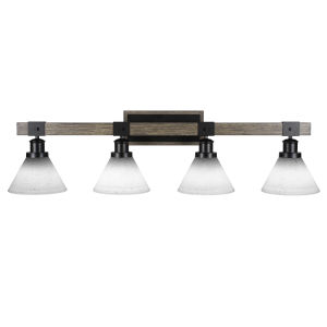 Tacoma Matte Black and Distressed Wood 38-Inch Four-Light Bath Light with White Muslin Shade