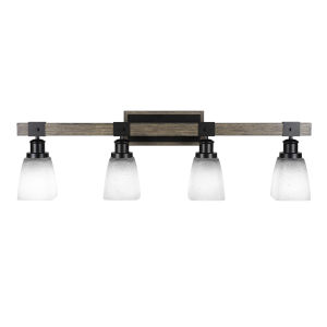 Tacoma Matte Black and Distressed Wood-lock Metal 11-Inch Four-Light Bath Light with White Muslin Shade
