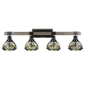 Tacoma Matte Black and Distressed Wood-lock Metal 38-Inch Four-Light Bath Light with Earth Star Art Glass Shade