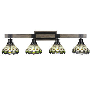 Tacoma Matte Black and Distressed Wood-lock Metal 38-Inch Four-Light Bath Light with Cyprus Art Glass Shade