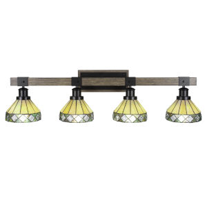 Tacoma Matte Black and Distressed Wood-lock Metal 38-Inch Four-Light Bath Light with Diamond Peak Art Glass Shade