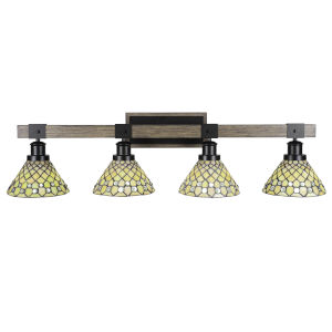 Tacoma Matte Black and Distressed Wood-lock Metal 39-Inch Four-Light Bath Light with Starlight Art Glass Shade