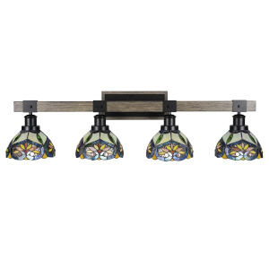 Tacoma Matte Black and Distressed Wood-lock Metal 38-Inch Four-Light Bath Light with Pavo Art Glass Shade