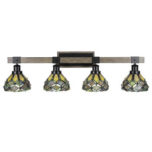 Tacoma Matte Black and Distressed Wood-lock Metal 38-Inch Four-Light Bath Light with Grand Merlot Art Glass Shade