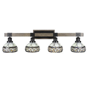 Tacoma Matte Black and Distressed Wood-lock Metal 38-Inch Four-Light Bath Light with Royal Merlot Art Glass Shade