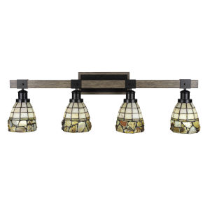 Tacoma Matte Black and Distressed Wood-lock Metal 38-Inch Four-Light Bath Light with Cobblestone Art Glass Shade