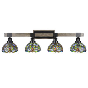 Tacoma Matte Black and Distressed Wood-lock Metal 38-Inch Four-Light Bath Light with Kaleidoscope Art Glass Shade