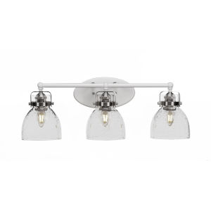 Easton White and Brushed Nickel Three-Light Bath Vanity