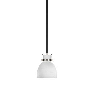Easton Matte Black and Brushed Nickel One-Light Mini Pendant with White Muslin Shade
