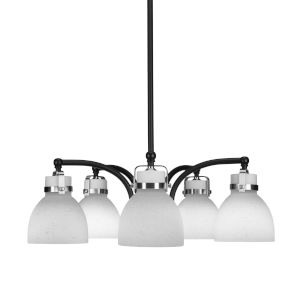 Easton Matte Black and Brushed Nickel 24-Inch Five-Light Chandelier with White Muslin Shade