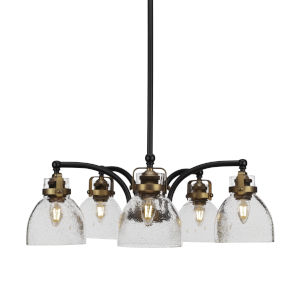 Easton Matte Black and Brass Five-Light Chandelier