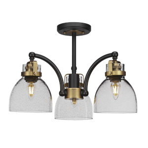 Easton Matte Black and Brass Three-Light Semi-Flush Mount