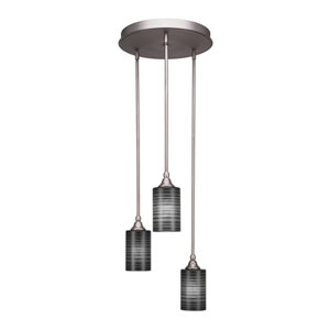Empire Brushed Nickel 18-Inch Three-Light Mini Pendant with Black Glass