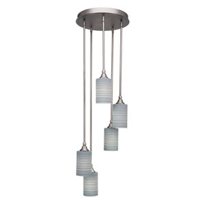 Empire Brushed Nickel 14-Inch Five-Light Mini Pendant with Gray Matrix Glass