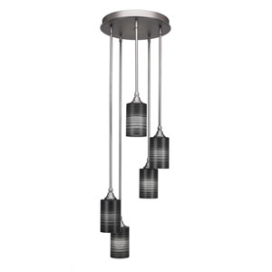 Empire Brushed Nickel 14-Inch Five-Light Mini Pendant with Black Matrix Glass