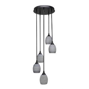 Empire Matte Black 15-Inch Five-Light Cluster Pendant with Gray Matrix Glass