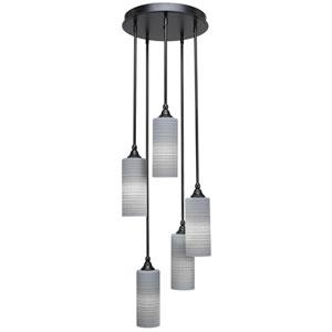 Empire Matte Black Five-Light Pendant with Gray Matrix Glass