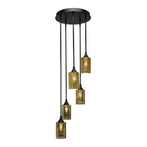 Empire Matte Black 14-Inch Five-Light Cluster Pendant with Gold Matrix Glass