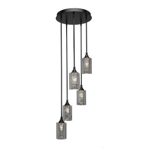 Empire Matte Black 14-Inch Five-Light Cluster Pendant with Silver Matrix Glass