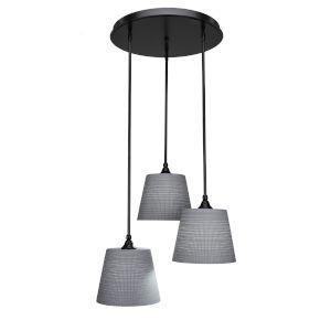 Empire Matte Black 21-Inch Three-Light Cluster Pendant with Gray Matrix Glass