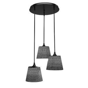 Empire Matte Black 21-Inch Three-Light Cluster Pendant with Black Matrix Glass