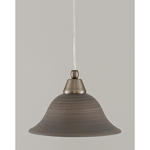 Any Brushed Nickel Five-Inch One-Light Mini Pendant with Bell Gray Linen Glass