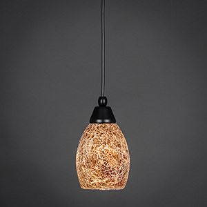 Any Matte Black Five-Inch One-Light Mini Pendant with Round Gold Fusion Glass