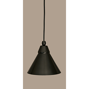 Any Matte Black Seven-Inch One-Light Mini Pendant with Brushed Nickel Metal Shade