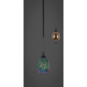 Any Black Copper Five-Inch One-Light Mini Pendant with Copper Fire Glass Shade